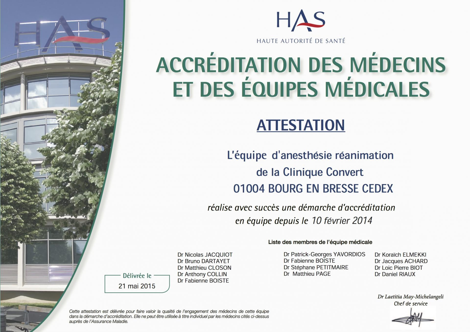 Accreditation certificat